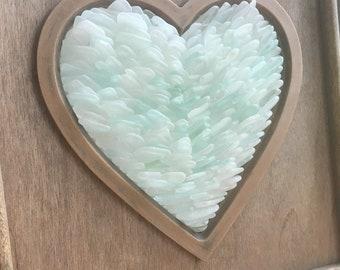 SEA GLASS HEART - Stacked white, seafoam & aqua