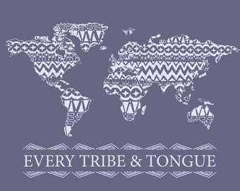 Every Tribe and Tongue Wall Art Dark Purple