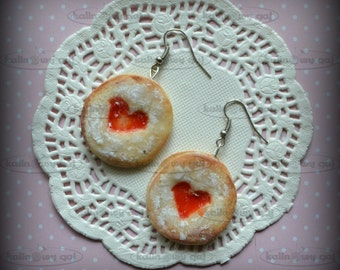 earrings fimo, polymer clay miniature food  biscuits cake