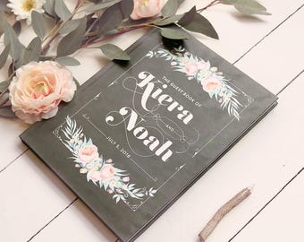 Chalkboard Wedding Guestbook, Rustic Wedding Guest Book, Rustic Guest Book, Personalized Gift for the Couple, Photo Guestbook, Floral