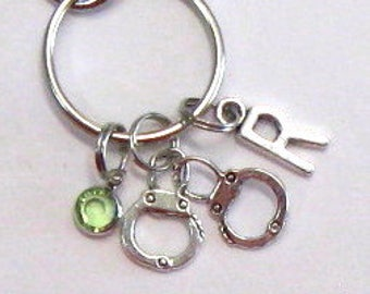 Partners handcuffs key chain, hand cuffs purse charm, partners in crime, personalized initial handcuffs, sisters/best friends, couples gift