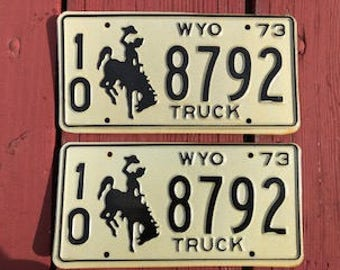 Vintage 1973 Wyoming Truck License Plate Set - Never Issued Set- As New condition
