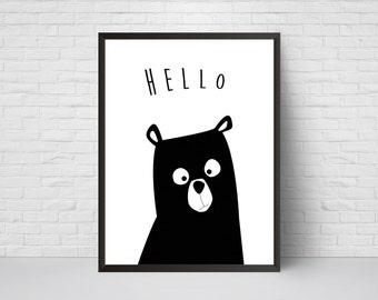 Bear Nursery Print, Hello Bear Art, Black and White Modern Kids Room Decor, Large Print, Minimalist Poster, Woodland, Baby Shower