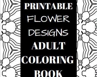 10 Printable Flower Design Adult Coloring Book