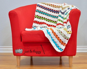 Instant PDF Download, Twisting Colors Throw, Crochet Pattern