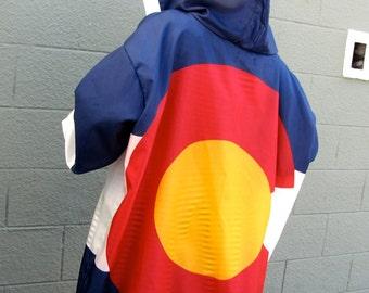 6 XL Colorado State American Flag Hoodie - handmade mens hoodie - mens shirt- mens clothing- jacket - upcycled clothing - windbreaker