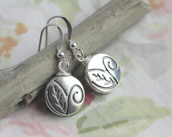 Silver Leaf Earrings, Silver Earrings, Small Silver Earrings, Small Leaf Earrings, Silver Dangle Earrings, Leaf Jewelry, Nature Jewelry