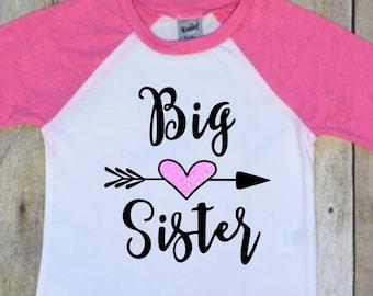 Big Sister Shirt-Big Sister Raglan-Pregnancy Reveal-Big Sister Announcement Shirt-New Baby Announcement Shirt-Pink Raglan-Baseball Jersey