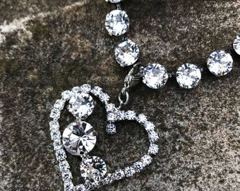 Crystal swarovski necklace with heart pendant