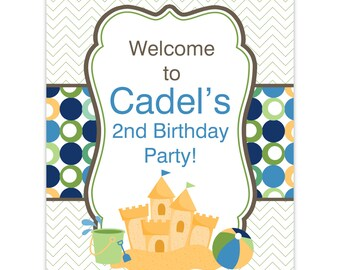 Beach Party Sign - Green Chevron, Blue Polka Dots, Sandcastle and Beach Ball Personalized Birthday Welcome Sign - Digital Printable File