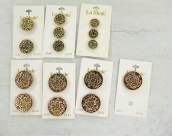 La Mode Antique Gold Crest Buttons 2644/2643/2642/2641