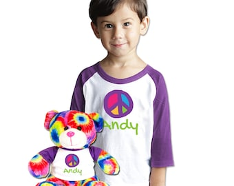 Personalized Shirt With Matching Tie Dyed Bear with Custom peace Sign Art