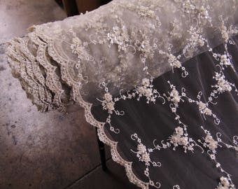 """Ivory, Victorian, Edwardian, Floral, Beaded and Sequin, Wedding Lace, 51"""" Wide, Wedding, Pagaent, Prom, Dancewear, Lingerie, Veil, Gowns"""