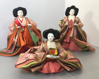 Japanese Dolls Hina Dolls set of 3 SANNIN KANJO very Big size dolls kimono dolls Vintage dolls unique Japanese dolls made in japan  (#352)