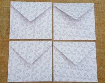 leaf envelopes, woodland envelope set, patterned paper envelopes, vintage style, set of four square envelopes, decorative envelopes
