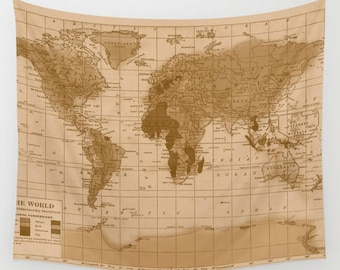 World Map Tapestry Wall hanging - aged map print, beautiful map, travel decor, sepia, wall decor atlas, den, bedroom, library