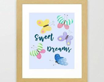 Sweet Dreams, Butterfly nursery decor, printable art, Instant download, digital download, watercolor print, girl's room decor