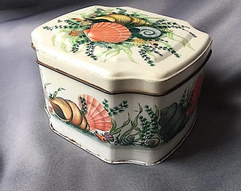 Vintage TIN BOX Made in England Seashell Theme Hinged Beautiful Images Shells, Seaweed Possible Snuffbox Great Vintage Condition Lovely