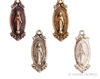 Miraculous Medallion Dispeller Charm for Charm Bracelets. Virgin Mary Charm. Sold as single. Choose your color. MDD