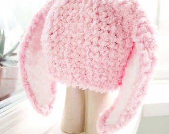 2T to 4T Pink Kids Bunny Hat, Costume Childrens Beanie, Crochet Toddler Hat, Baby Pink White Bunny Ears Rabbit Hat Photo Prop