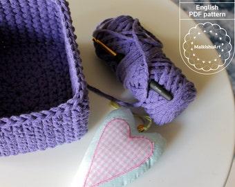 Crochet square basket PDF, crochet pattern, DIY basket, basket pdf instant download, square basket, storage basket, crochet pattern
