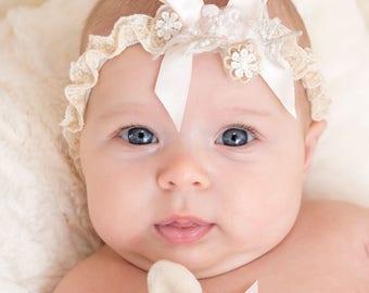 Jessica Lace Baby Headband, Newborn Lace Headband, Baby Girl Headbands