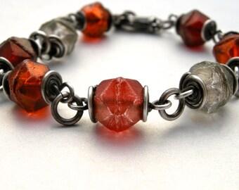 orange glass bead bracelet, czech glass bracelet, handmade bracelet, boho jewelry