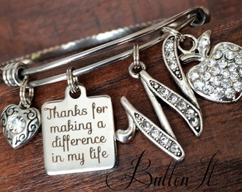 TEACHER Gift, teacher appreciation gift, Initial jewelry, teacher bracelet, thank you gift, Thanks for helping me grow, inspirational