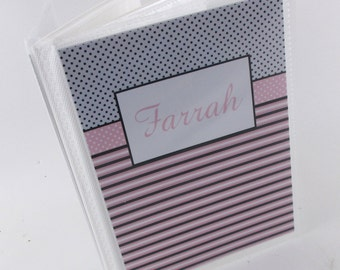 Grandmas brag book , baby photo album girl shower gift- 4x6 or 5x7 picture pink and Black-535