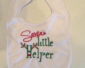 Embroidered Santa's Little Helper Embroidered Bib