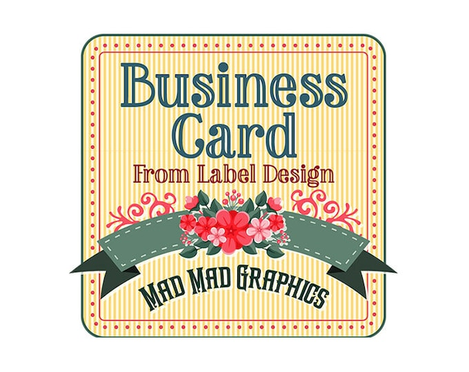 Business Card Design from Existing Label Design - Digital - Avery Setup - 300 DPI - PDF, PNG, JPGs