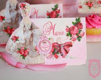 Placecards Marie Antoinette La Bella Roses Glittered  with Die-Cut Marie Set of Six
