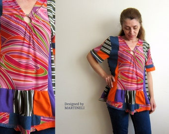 M/L Crazy Patchwork Top Upcycled Clothing Boho Gypsy Top Upcycled Denim Top Lagenlook Patchwork Denim Patchwork Tunic Funky Top