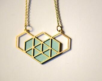 geometric blue heart necklace