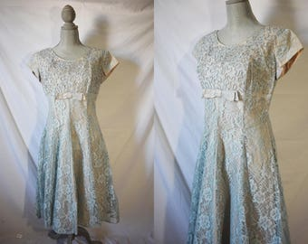 Vintage 60s Blue Formal Dress Lace Cocktail Dress Evening Dress Mid Century Holiday Party Dress Wedding Bridesmaid Floral Dress