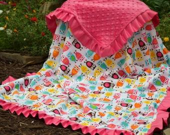 Minky Baby Blanket  - Night Owl Minky Owls - Hot Pink Minky - Satin Ruffle - Personalized - Baby Girl - Multiple Sizes