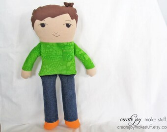"13"" Boy Doll Sewing Pattern and Tutorial - simple, easy, cloth, fabric, plush, plushie, softie, stuffed, soft, toy"