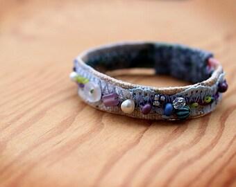 Beaded Bracelet, Fiber Cuff, Beaded Cuff, Boho Jewelry