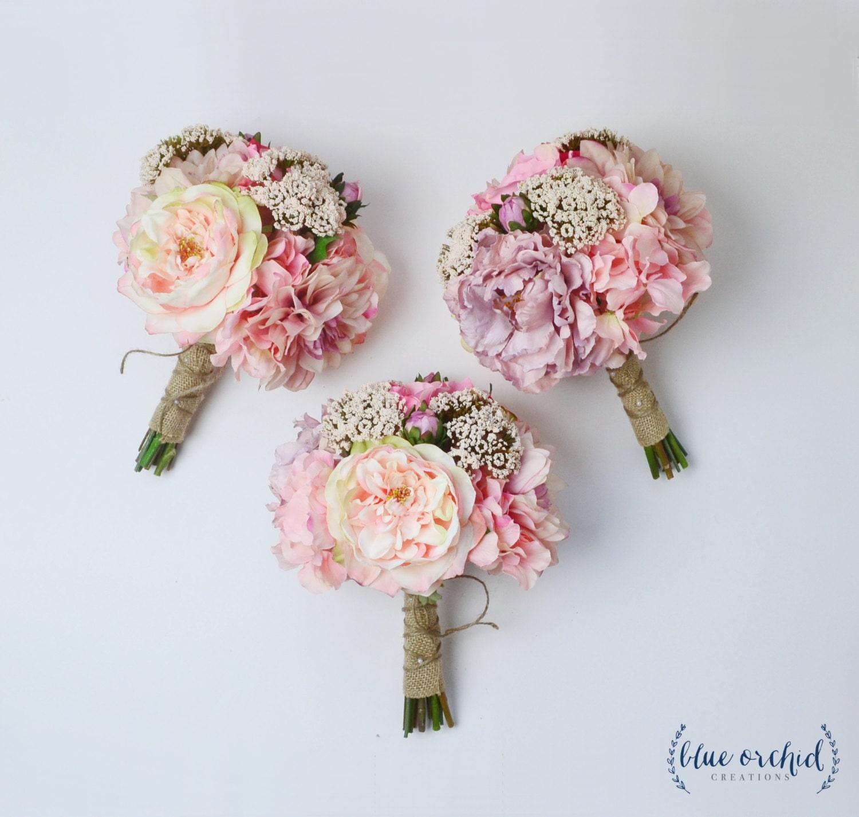 Bridesmaid Bouquet, Silk Flowers, Silk Wedding Bouquet, Pink, Bouquet, Wedding Set, Faux Bouquet, Shabby Chic, Rustic Bouquet, Fall Bouquet