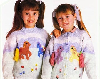 My Little Pony Motif Girls Sweater and Cardigan Knitting Pattern  - Original Vintage Knitting Pattern Leaflet