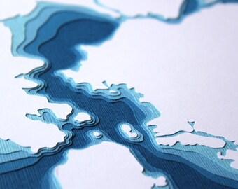 San Francisco Bay - original 8 x 10 papercut art