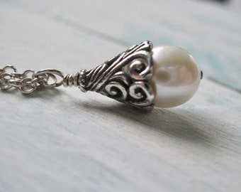 Freshwater Pearl Necklace Bali Sterling Silver Wire Wrap