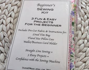 Beginner's Sewing Kit,  3 Easy Sewing Projects, Gifts for Sewers, Learn to Sew, Easy Things To Make, Fabric Kit, Sewing, Quilting, New Sewer