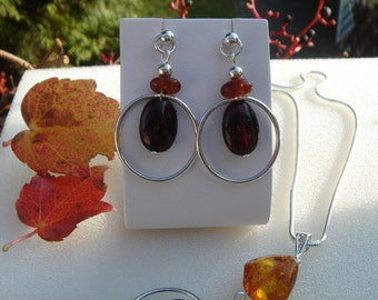925 Silver earrings with Baltic amber!