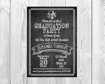 Chalkboard Graduation Party Invitation >> High School Graduation Party << College Graduation Party Invite  >> Custom Printable Digital File