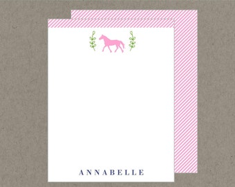 Set 20 Preppy Horse Flat Note Cards with Envelopes - Pink Navy Kelly Green