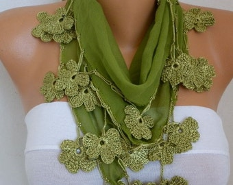 Grass Green Cotton Floral Scarf, Summer Scarf, Cowl Scarf, Necklace, Bridesmaid Gift, Wedding, Gift Ideas For Her, Women Fashion Accessories