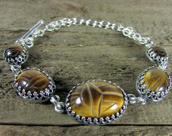 Tiger Eye Egyptian Scarab & Sterling Silver Bracelet, Sterling Silver Jewelry, Handmade Egyptian Jewelry