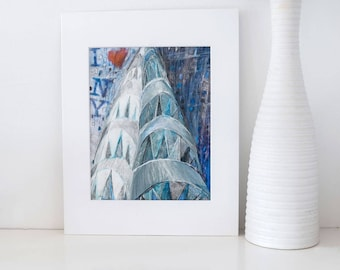 I love The Chrysler Building- NYC Art- skyscraper,New York City,Original Mix Media Illustration,Painting,Wall decoration, urban,contemporary