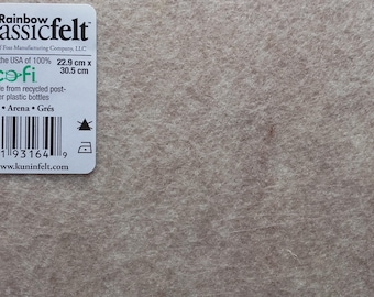 BEIGE Polyester felt plate - 23 x 30cm - thickness + / 1 mm-selling individually